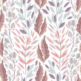 Teste padrão sem emenda com plantas, as folhas e alga marinhas Flora marinha tirada mão no estilo da aquarela ilustração royalty free