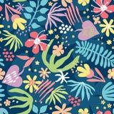 Teste padrão sem emenda com plantas tropicais ilustração royalty free