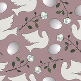 Teste padrão sem emenda com pombas e as rosas brancas Imagens de Stock