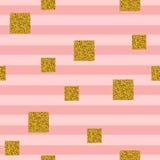 Teste padrão sem emenda com quadrados do brilho dourado em fundo listrado Foto de Stock