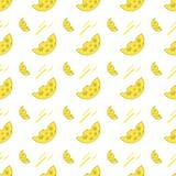 Teste padrão sem emenda com queijo em um fundo branco ilustração stock