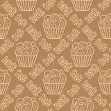 Teste padrão sem emenda com queques Imagens de Stock Royalty Free