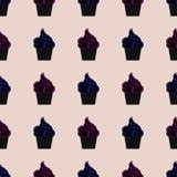 Teste padrão sem emenda com queques rosa e azul ilustração do vetor