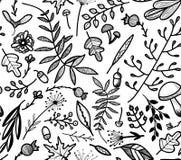 Teste padrão sem emenda com ramos, as folhas, os cogumelos e as flores decorativos Fotografia de Stock Royalty Free