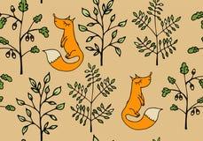 Teste padrão sem emenda com ramos e raposas Fotografia de Stock
