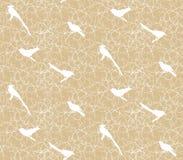 Teste padrão sem emenda com ramos, espinhos e pássaros Imagem de Stock