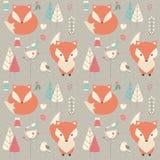 Teste padrão sem emenda com a raposa bonito do bebê do Natal cercada com fl ilustração do vetor