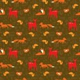 Teste padrão sem emenda com raposa, esquilos, cervos e flo ilustração royalty free