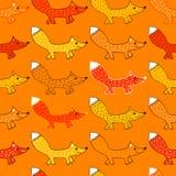 Teste padrão sem emenda com raposas Fotos de Stock Royalty Free
