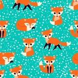 Teste padrão sem emenda com raposas bonitos Ilustração do vetor Foto de Stock Royalty Free