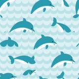 Teste padrão sem emenda com rebanho dos golfinhos Imagem de Stock