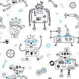 Teste padrão sem emenda com robôs bonitos e robótica Ilustração do vetor ilustração do vetor