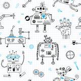 Teste padrão sem emenda com robôs bonitos e robótica Ilustração do vetor ilustração royalty free