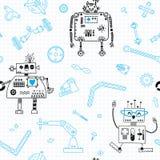 Teste padrão sem emenda com robôs e detalhes para a robótica da construção Ilustração do vetor ilustração stock