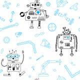Teste padrão sem emenda com robôs e detalhes para a robótica da construção Ilustração do vetor ilustração royalty free