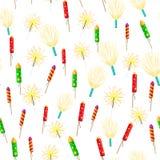 Teste padrão sem emenda com Rockets Sparklers Fireworks ilustração do vetor