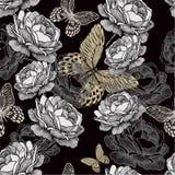 Teste padrão sem emenda com rosas e o butterfli de florescência Imagens de Stock