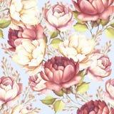 Teste padrão sem emenda com rosas luxúrias Ilustração da aquarela da tração da mão Fotografia de Stock Royalty Free