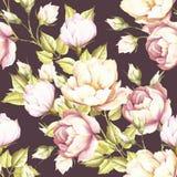 Teste padrão sem emenda com rosas luxúrias Ilustração da aquarela da tração da mão Imagens de Stock Royalty Free