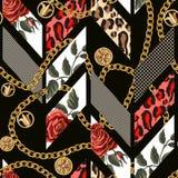 Teste padrão sem emenda com rosas, pele do leopardo, pontos e correntes Projeto na moda geométrico ilustração royalty free