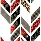 Teste padrão sem emenda com rosas, pele do leopardo, pontos e linhas Projeto na moda geométrico ilustração do vetor