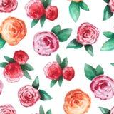 Teste padrão sem emenda com rosas vermelhas ilustração royalty free