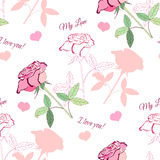 Teste padrão sem emenda com rose1-04 cor-de-rosa Fotografia de Stock Royalty Free