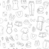 Teste padrão sem emenda com a roupa do verão ilustração stock