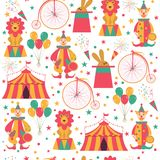 Teste padrão sem emenda com símbolos do circo ilustração stock