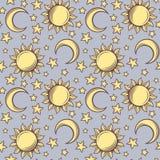 Teste padrão sem emenda com sóis, luas e estrelas. Imagem de Stock