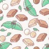 Teste padrão sem emenda com sabor tirado mão do chocolate e da hortelã ilustração do vetor