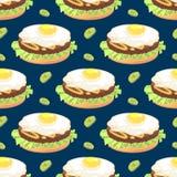 Teste padrão sem emenda com sanduíche da omeleta ilustração stock