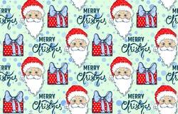 Teste padrão sem emenda com Santa Claus ilustração do vetor
