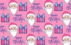 Teste padrão sem emenda com Santa Claus, a caixa de presente e o Feliz Natal ilustração stock