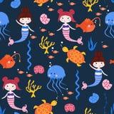 Teste padrão sem emenda com sereias medusa e tartarugas - ilustração do vetor, eps ilustração stock