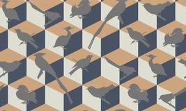 Teste padrão sem emenda com silhuetas dos pássaros Fotos de Stock Royalty Free