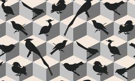Teste padrão sem emenda com silhuetas dos pássaros Imagens de Stock Royalty Free