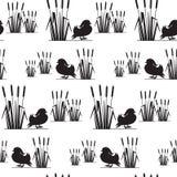 Teste padrão sem emenda com silhuetas dos pássaros Imagem de Stock
