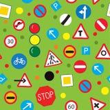 Teste padrão sem emenda com sinais de estrada - projeto engraçado Fotografia de Stock
