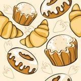 Teste padrão sem emenda com sobremesas ilustração royalty free