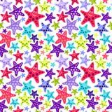Teste padrão sem emenda com starfish engraçados Foto de Stock