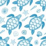 Teste padrão sem emenda com tartaruga e shell de mar na linha estilo da arte Ilustração desenhada mão do vetor Elementos do ocean Foto de Stock