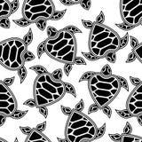 Teste padrão sem emenda com tartarugas pequenas Fotografia de Stock