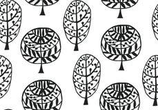 Teste padrão sem emenda com textura botânica no estilo da garatuja Imagem de Stock