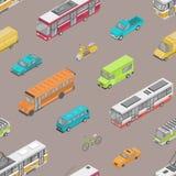 Teste padrão sem emenda com tráfego urbano ou transporte de automóvel na rua da cidade Contexto com os veículos motorizados de di ilustração stock