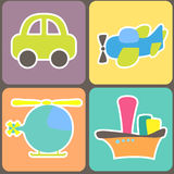 Teste padrão sem emenda com transporte dos desenhos animados Imagem de Stock