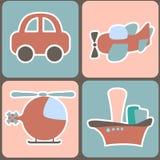 Teste padrão sem emenda com transporte dos desenhos animados Foto de Stock