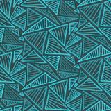 Teste padrão sem emenda com triângulos azuis frios do garrancho Fotos de Stock Royalty Free