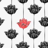 Teste padrão sem emenda com tulipas. ilustração royalty free