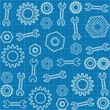 Teste padrão sem emenda com uma chave e as engrenagens Imagem de Stock